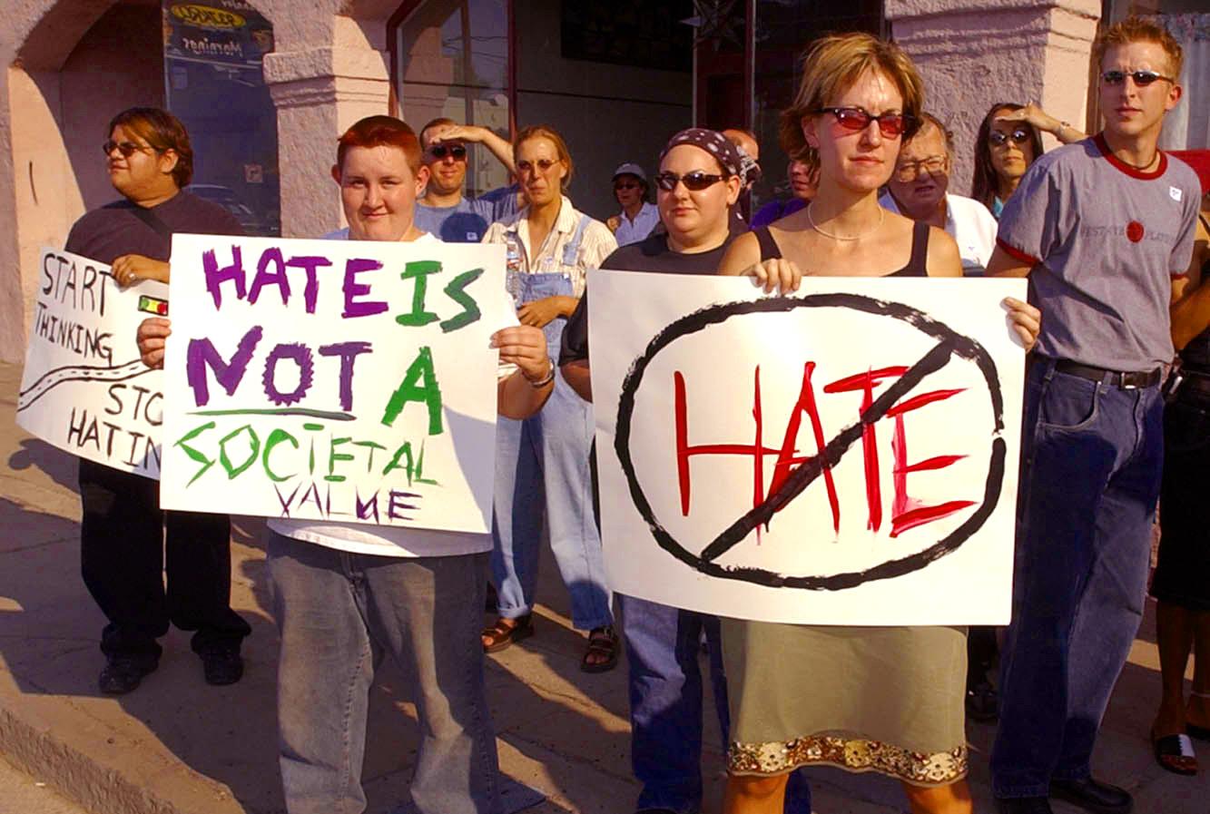 Protestors of Wingspan being vandalized, June 2002
